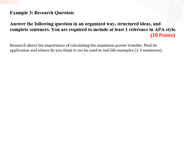 Example 3: Research Question: Answer The Following ...