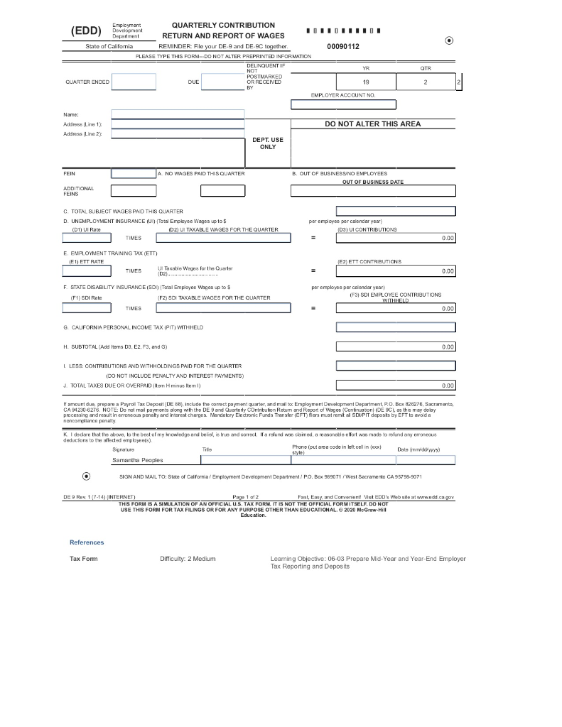 Help Filling Out State Of California Form De 9 Qu Chegg Com
