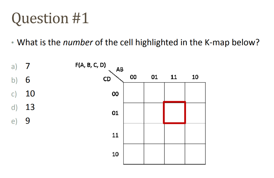 Question #1 • What is the number of the cell highlighted in the K-map below? F(A, B, C, D) AB 00 01 11 10 a) 7 b) 6 C) 10 d)