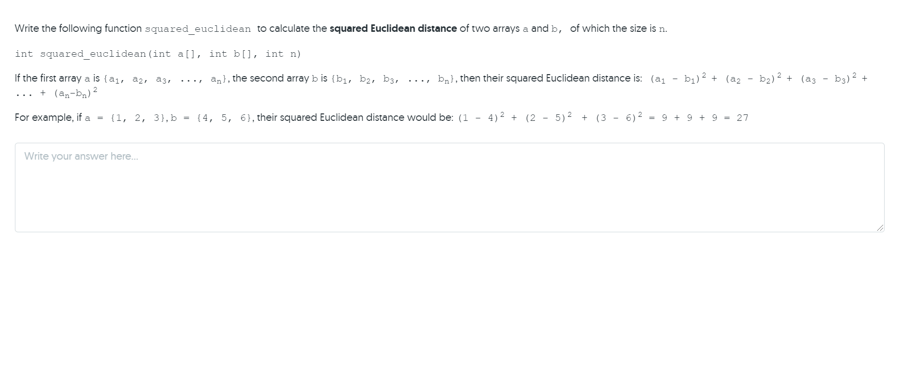 Solved Write the following function squared_euclidean to  Chegg.com