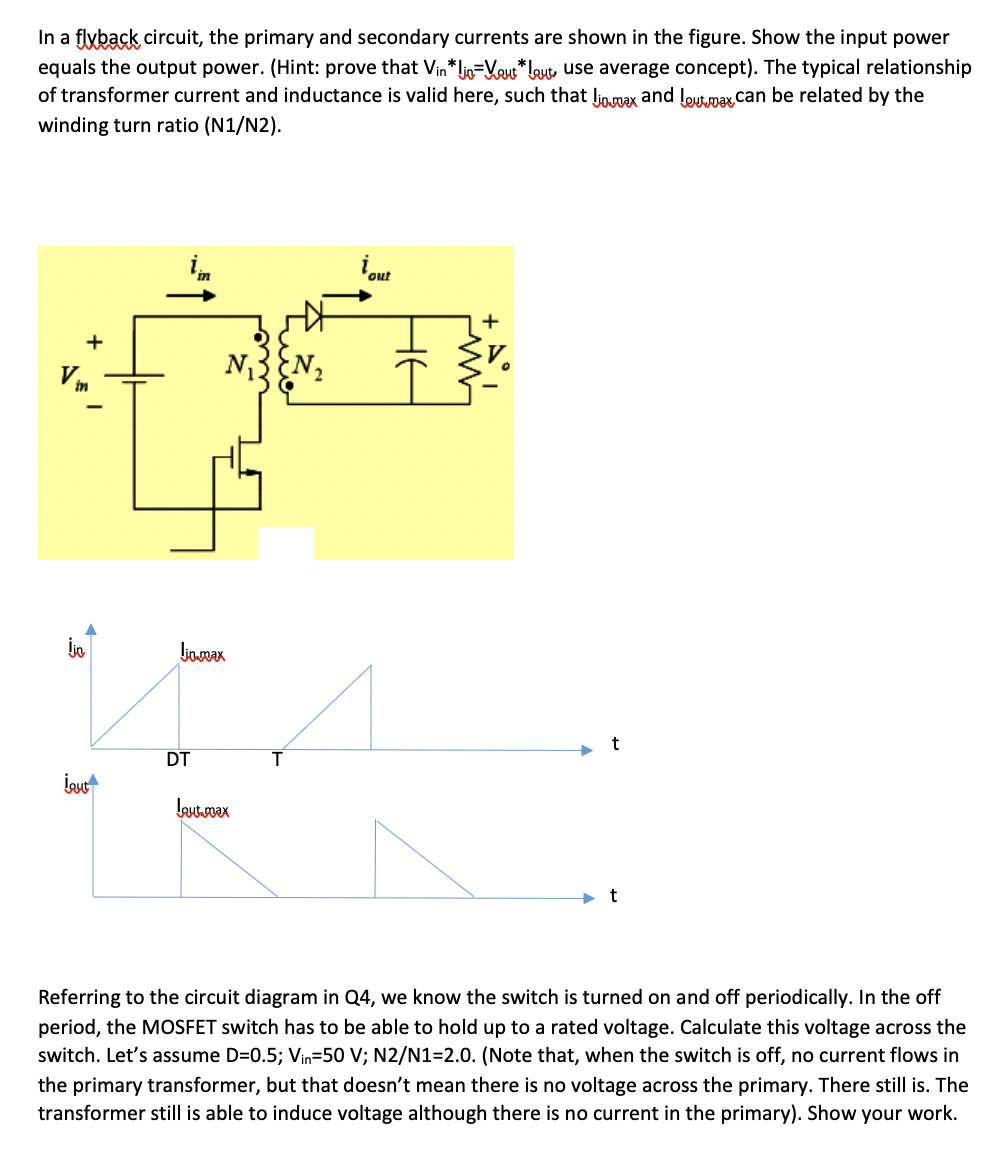 flyback transformer wiring diagram in a flyback circuit  the primary and secondary cu chegg com  in a flyback circuit  the primary and