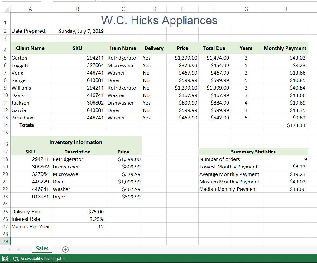 Exp20 Excel Ch20 Cap Appliances Project   Chegg.com