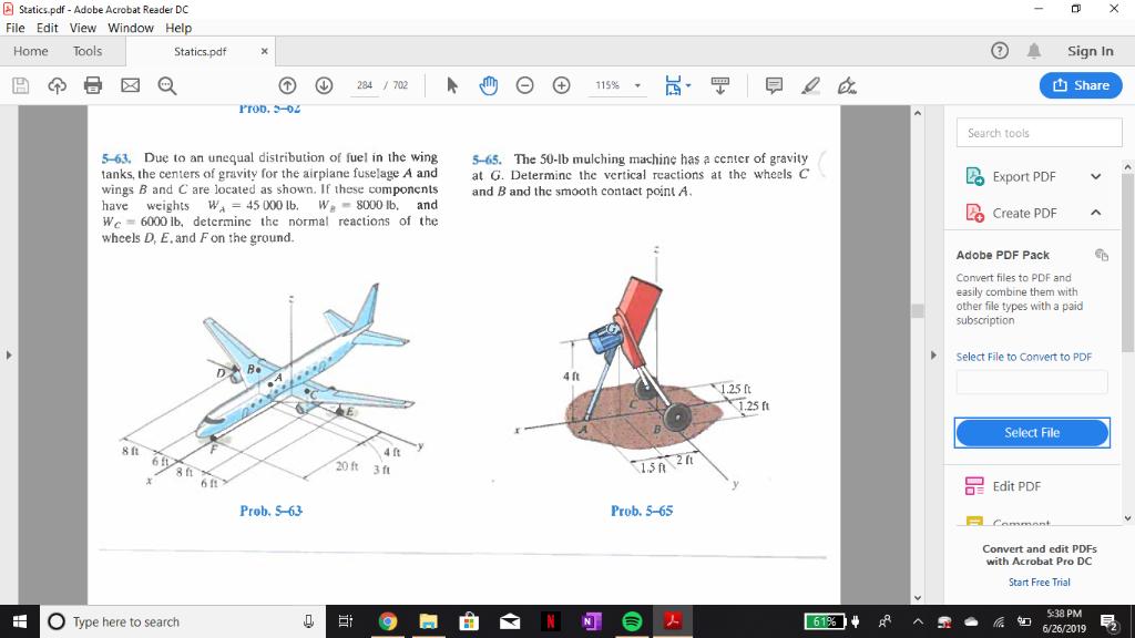 Solved: Statics pdf - Adobe Acrobat Reader DC File Edit Vi