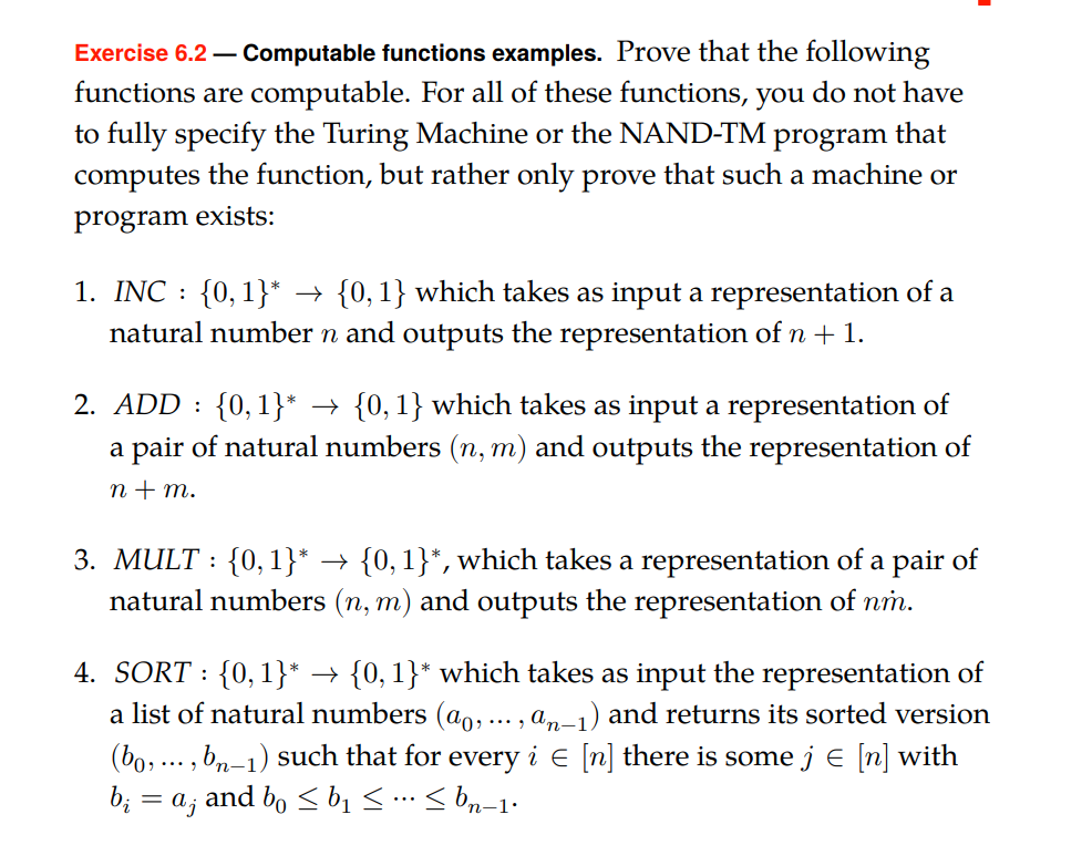 Exercise 6 2 Computable Functions Examples Prov Chegg Com