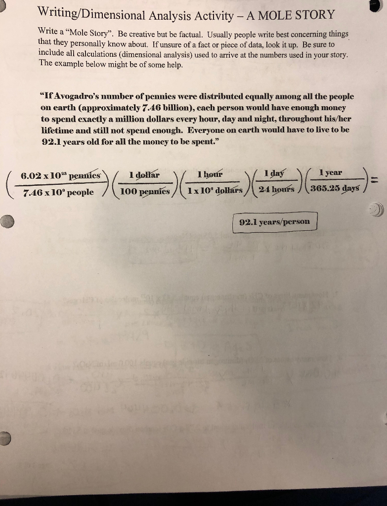 Writing/Dimensional Analysis Activity - A MOLE STO    | Chegg com