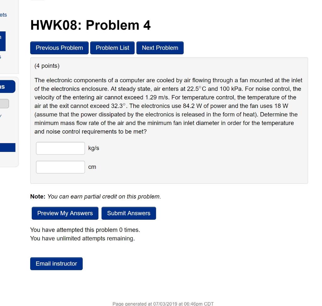 Ets HWK08: Problem 4 Previous Problem Problem List