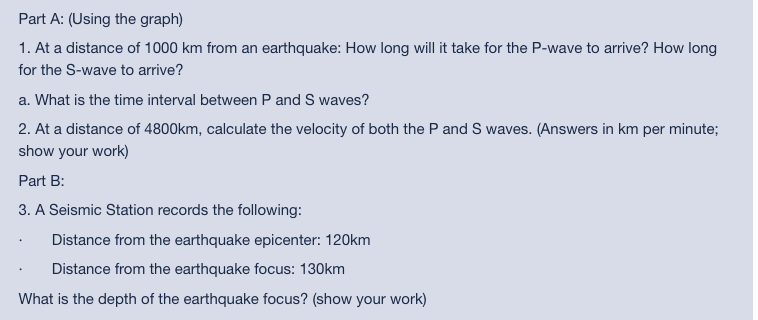 Part A: (Using the graph) 1. At a distance of 1000 km from an earthquake: How long will it take for the P-wave to arrive? How
