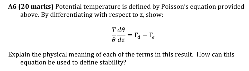 Solved: A6 (20 Marks) Potential Temperature Is Defined By
