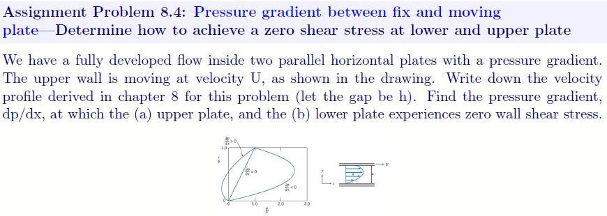 Assignment Problem 8.4: Pressure gradient between fix and moving plate_Determine how to achieve a zero shear stress at lower