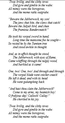 Below You Will Find A Copy Of The Poem Jabberwock