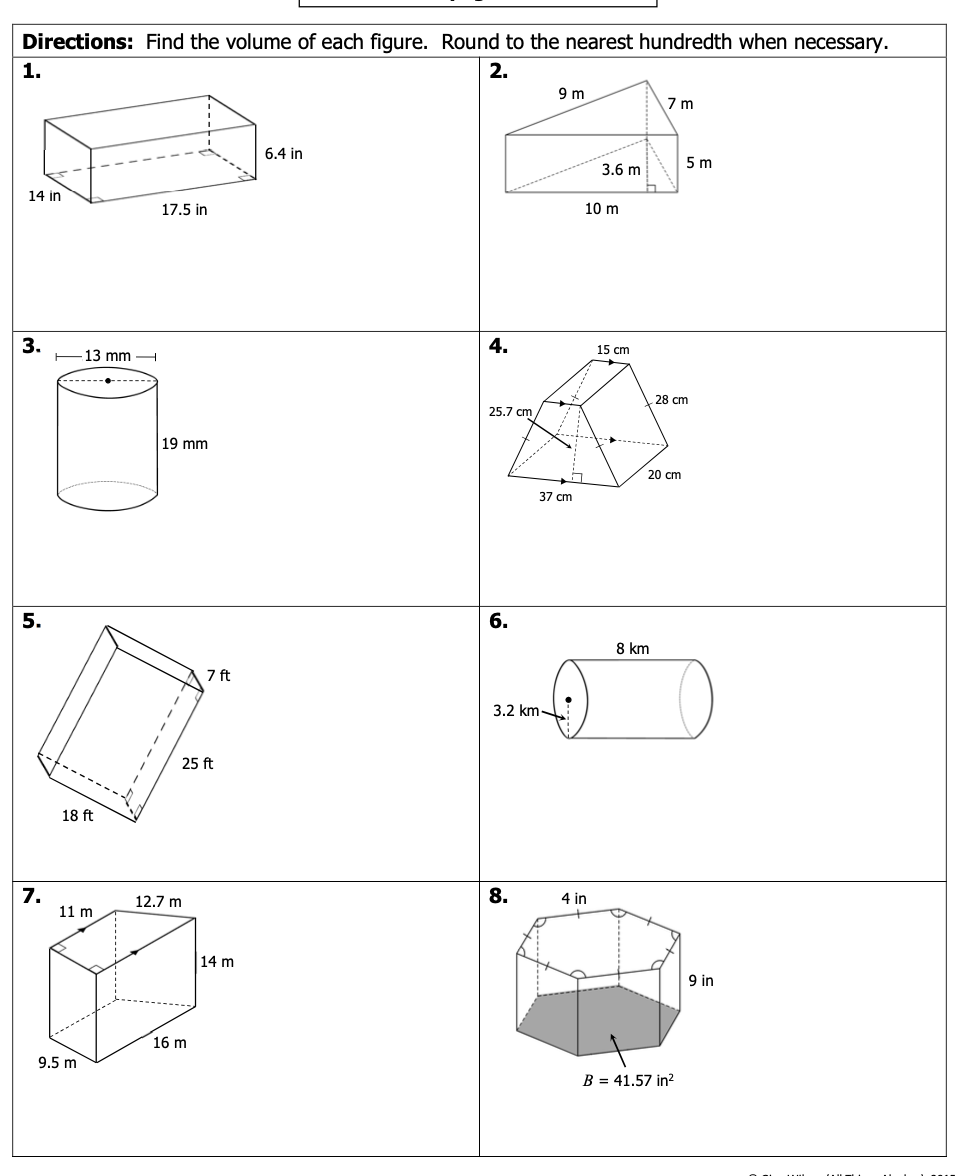 Solved: Directions: Find The Volume Of Each Figure. Round ...