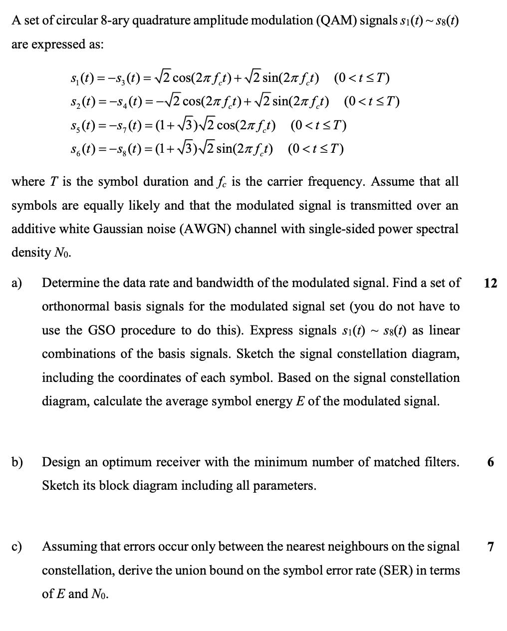 a set of circular 8-ary quadrature amplitude modul...   chegg.com  chegg
