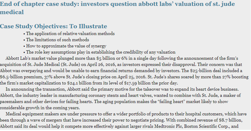 End of chapter case study: investors question abbott labs valuation of st. jude medical Case Study Objectives: To Illustrate