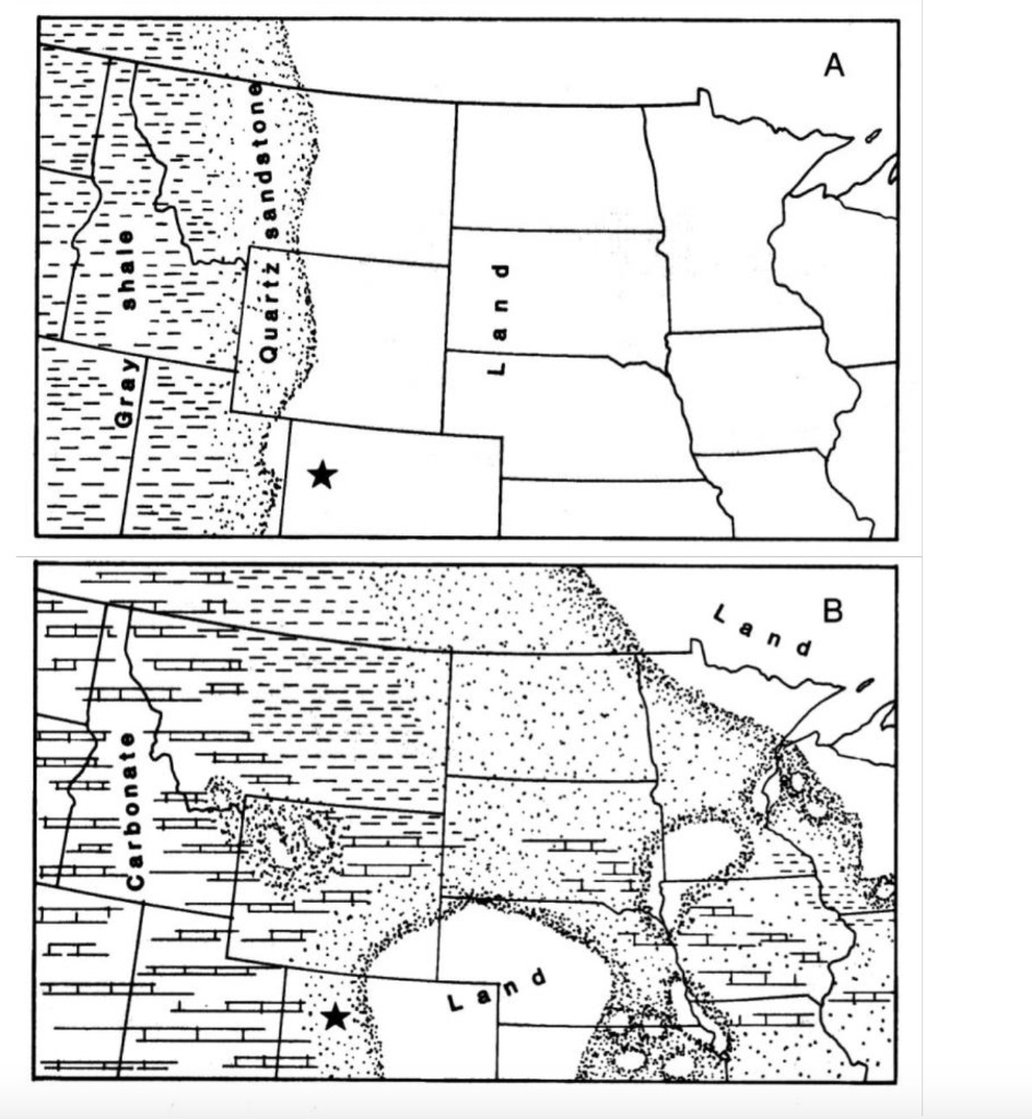 Solved: Lithofacies Maps For The Middle Cambrian (A) And L ...