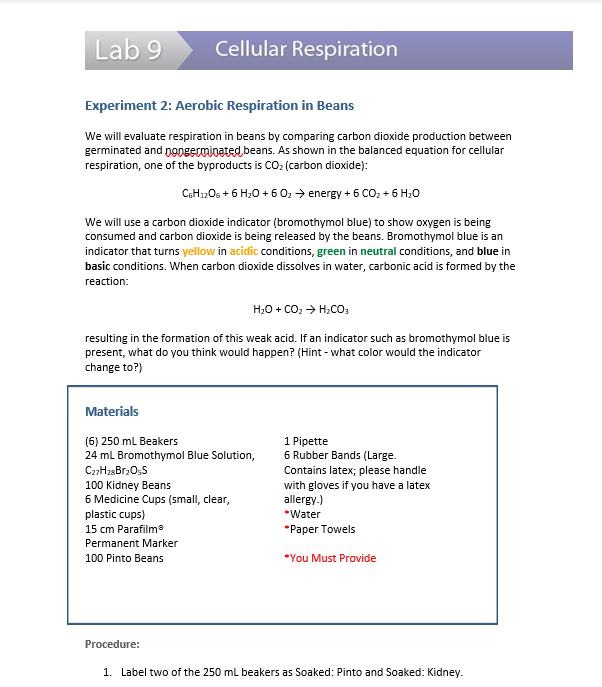 Solved Lab 9 Cellular Respiration Experiment 2 Aerobic R Chegg Com