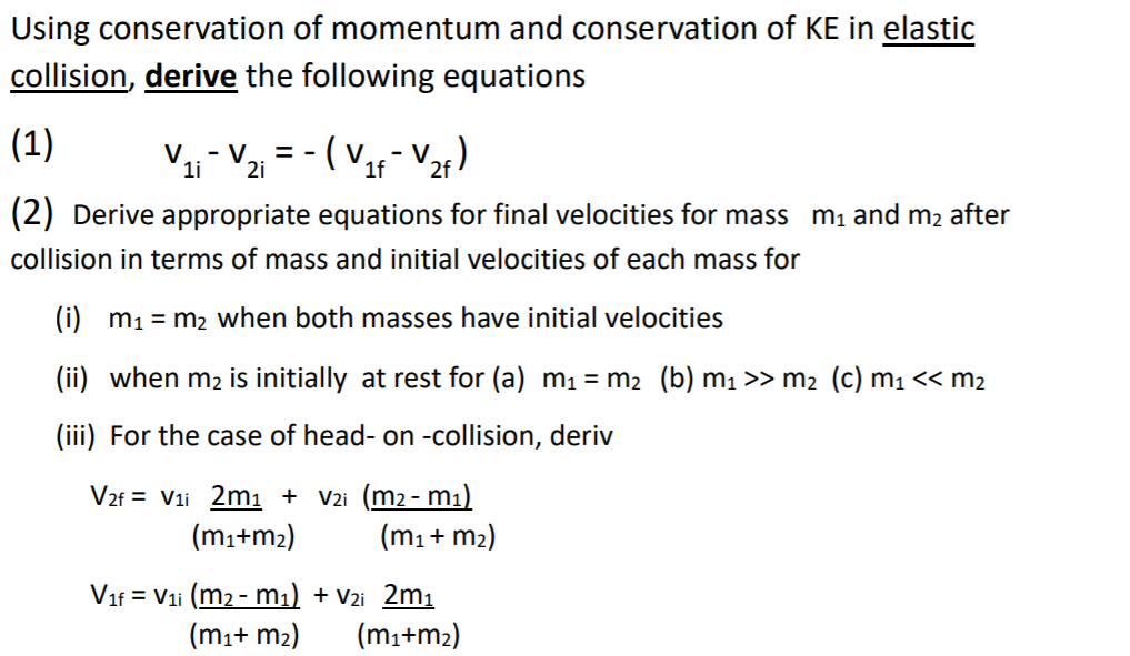 Solved Using Conservation Of Momentum And Conservation Of