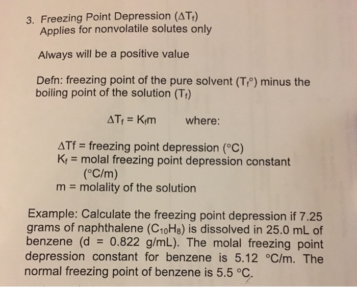 Pictures of freezing point depression constant for benzene is 5.12