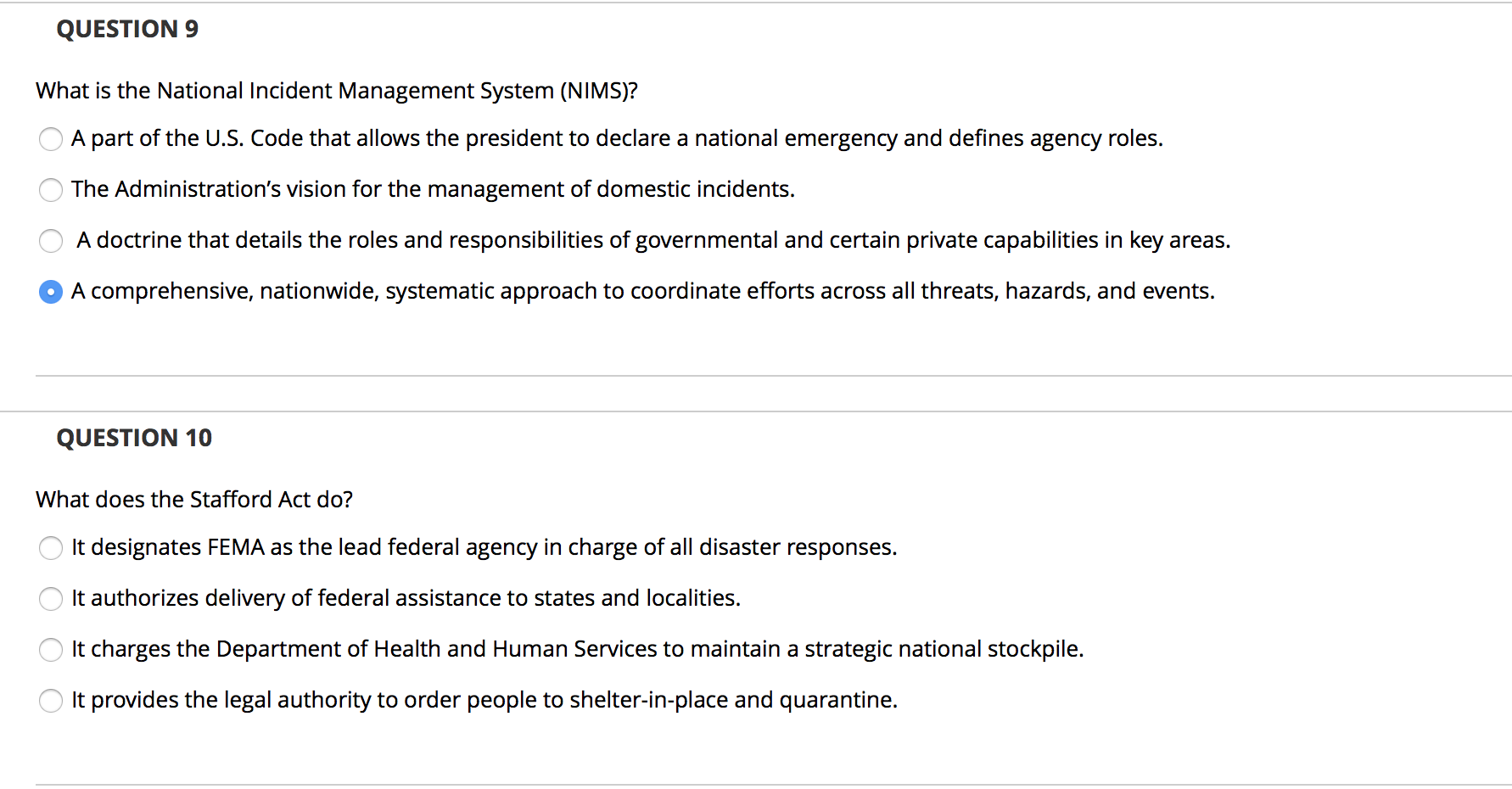 Solved Question 9 What Is The National Incident Managemen Chegg Com