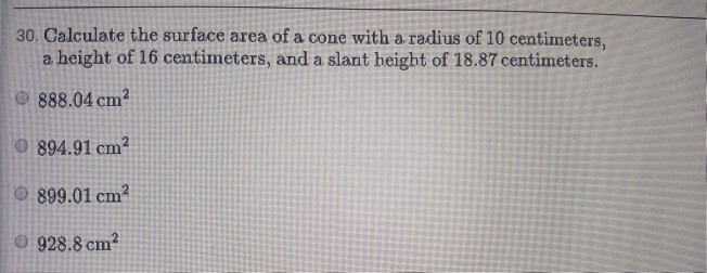 Solved: Calculate The Surface Area Of A Cone With A Radius