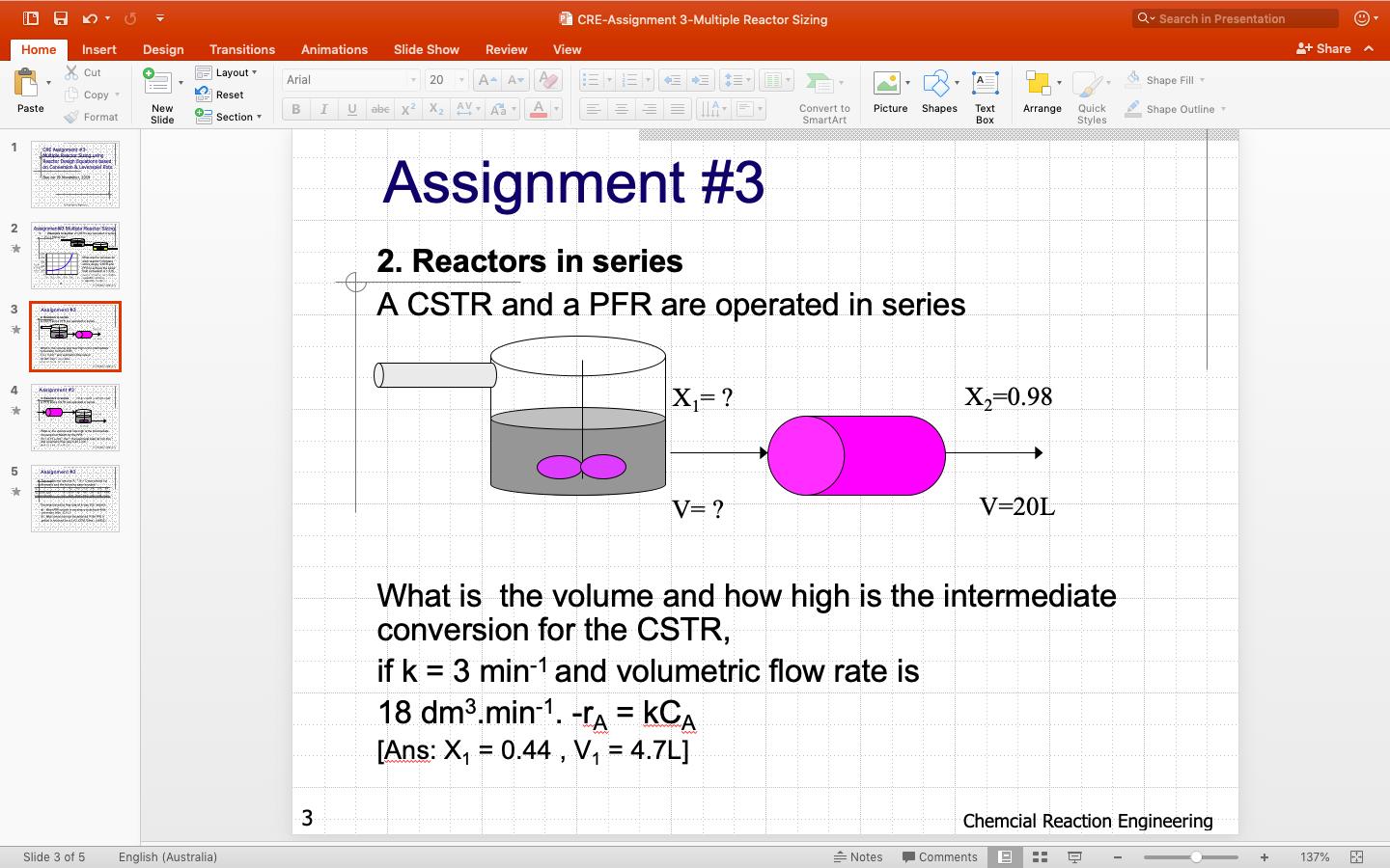 Solved Pcre Assignment 3 Multiple Reactor Sizing Qsearch