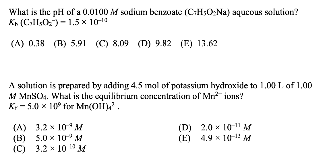 Solved: What Is The PH Of A 0.0100 M Sodium Benzoate (C,H5