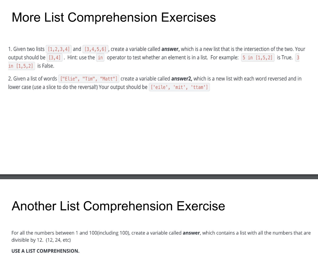 - Solved: More List Comprehension Exercises 1. Given Two Lis