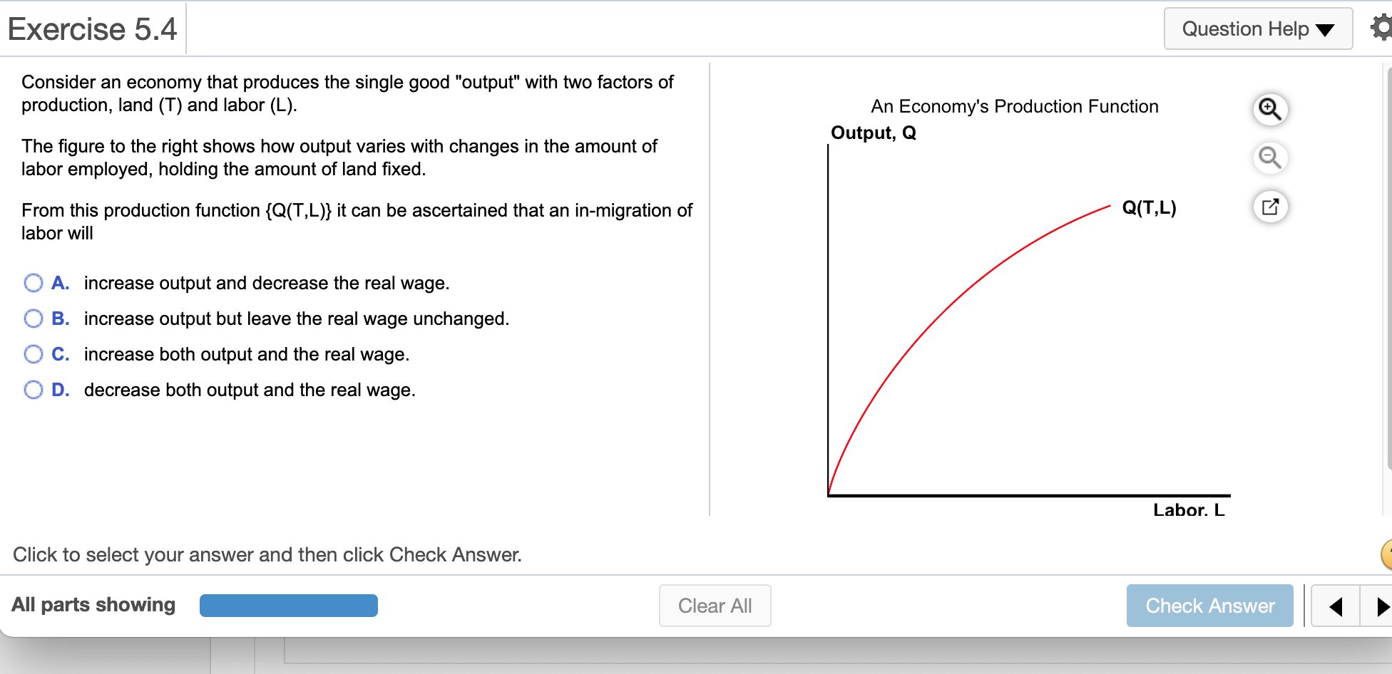 Exercise 5.4 Question Help Consider an economy that produces the single good output with two factors of production, land (T