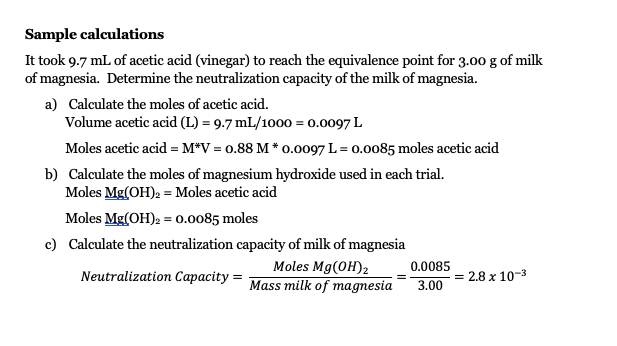 Solved: Part 3 - Analysis Of Milk Of Magnesia 1. Rinse The ...