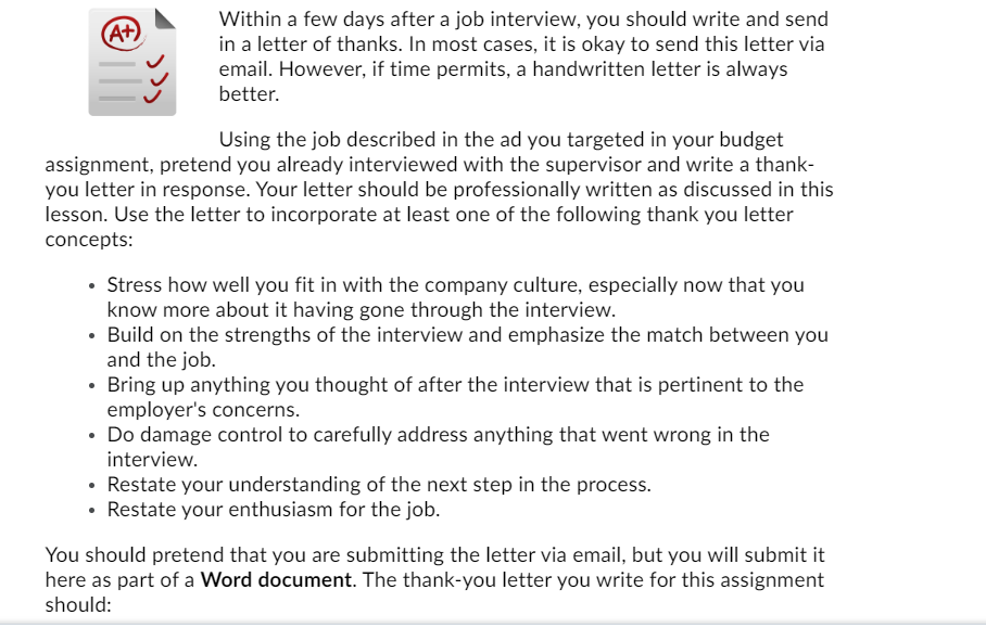 Thanks Letter For Interview from media.cheggcdn.com