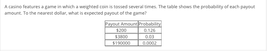 A casino features a game in which a weighted coin is tossed several times. The table shows the probability of each payout amo