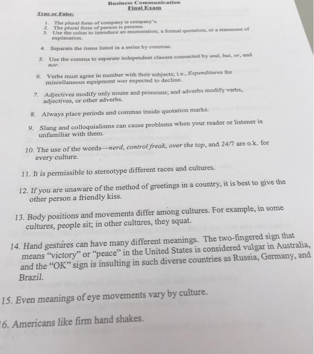 Solved: Business Communication Final Exam Te Oralser 1  Th