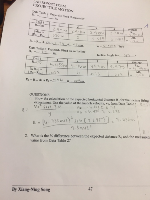 projectile motion lab report Solved: LAB REPORT FORM PROJECTILE MOTION Data Table 1: Pr ...