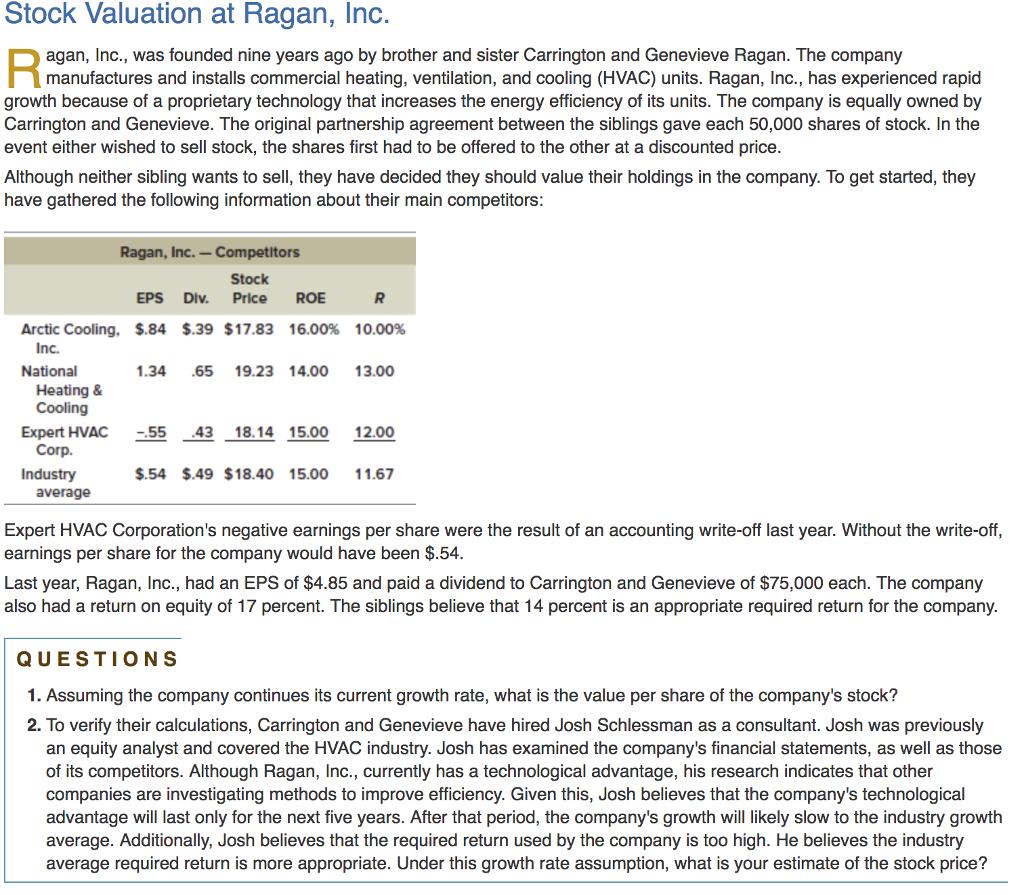 minicase stock valuation at ragan inc