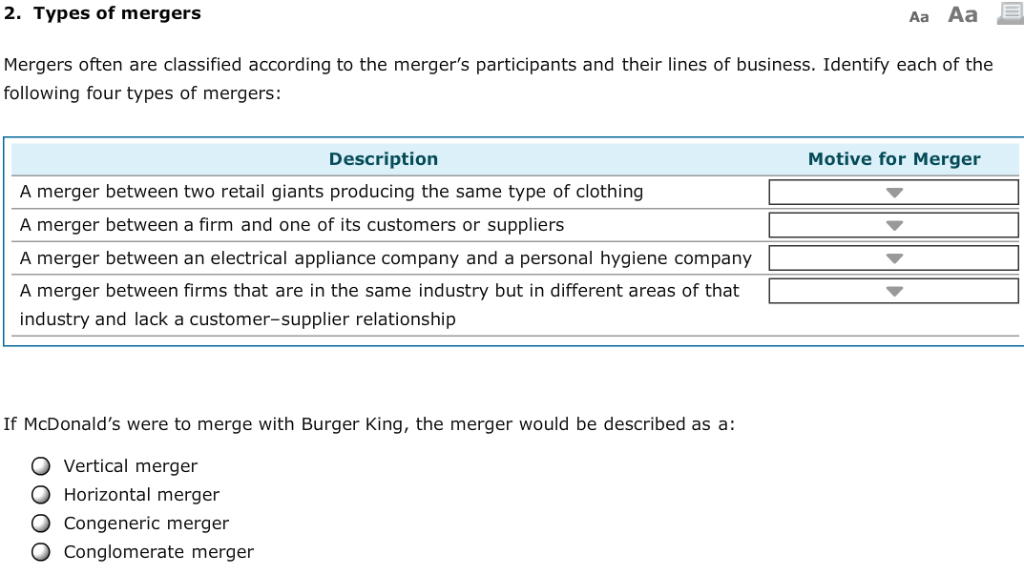 Solved: 2  Types Of Mergers Aa Aa Mergers Often Are Classi