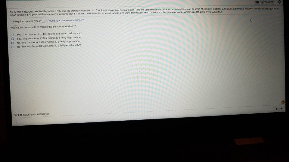 Solved: Question Help An 10 Test Is Designed So That The M