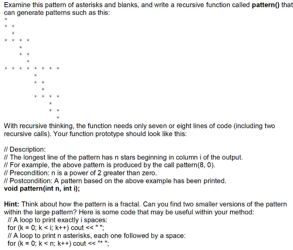 print pattern using recursion in c