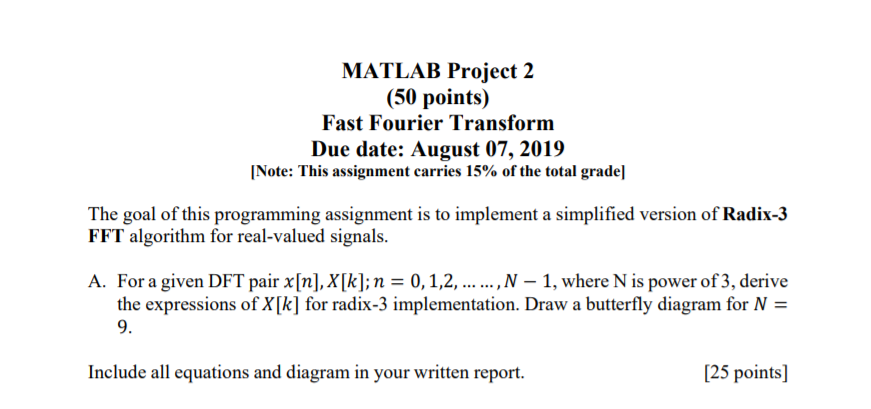 MATLAB Project 2 (50 Points) Fast Fourier Transfor    | Chegg com
