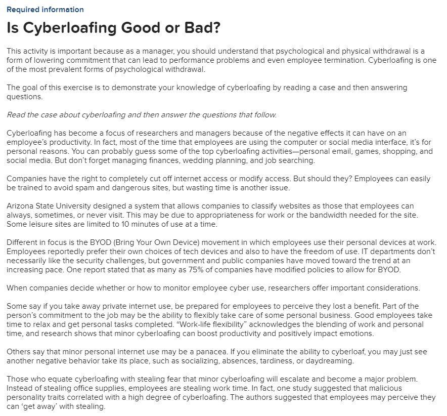 Solved: Required Information Is Cyberloafing Good Or Bad