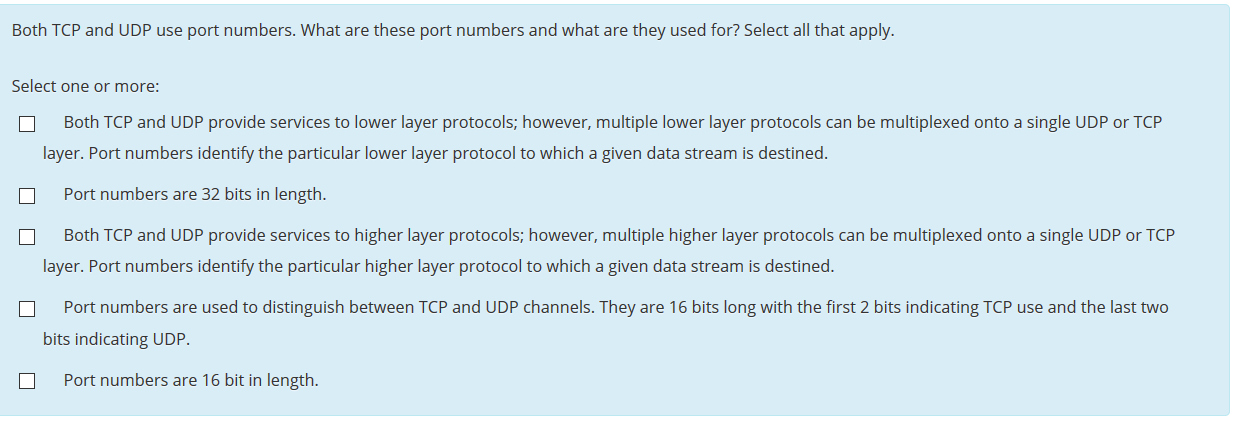 Solved: Both TCP And UDP Use Port Numbers  What Are These