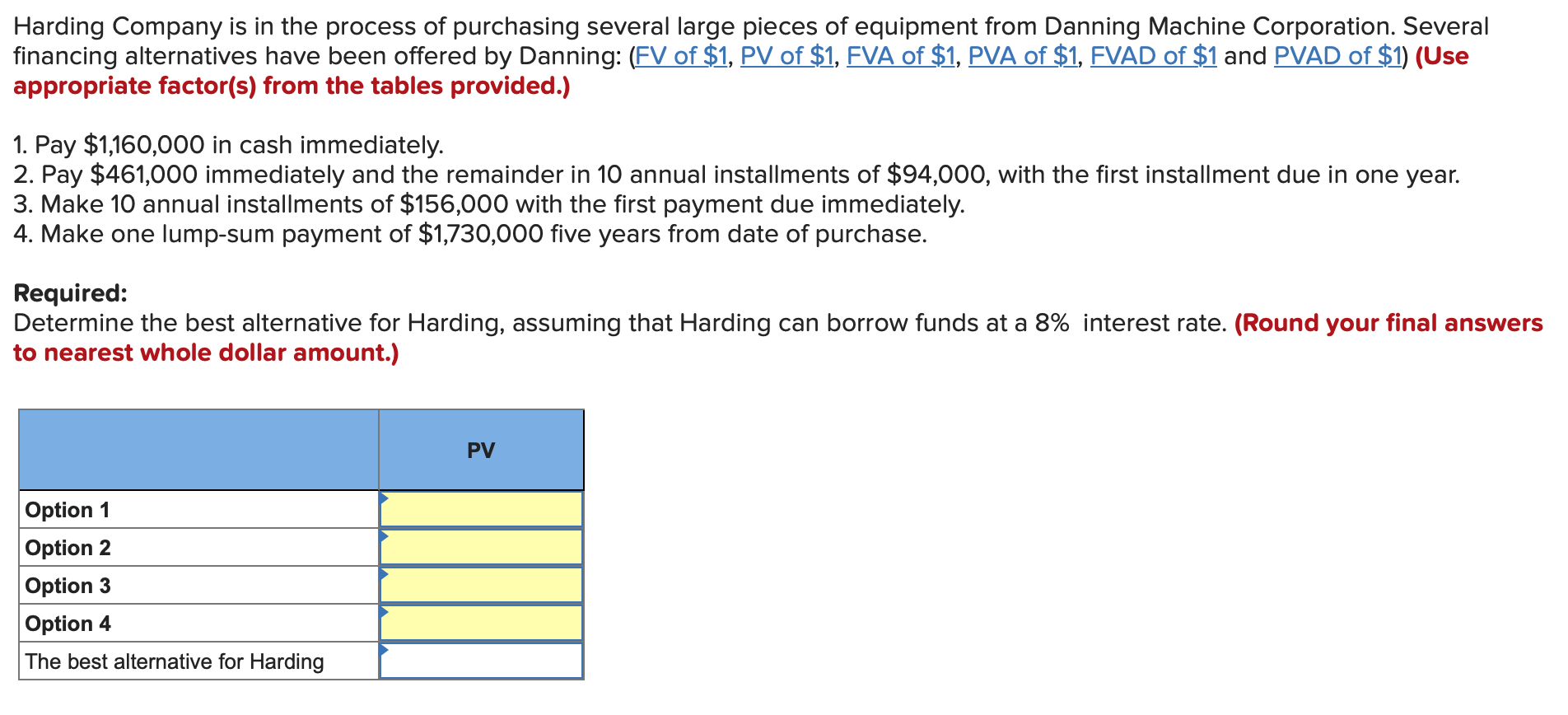 Harding Company is in the process of purchasing several large pieces of equipment from Danning Machine Corporation. Several f