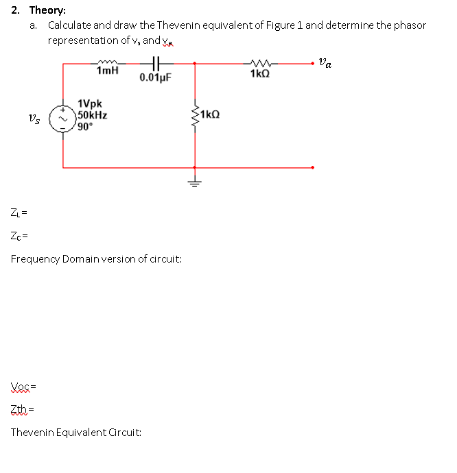 2. Theory: a. Calculate and draw the Thevenin equivalent of Figure 1 and determine the phasor representation of vs and Ya im