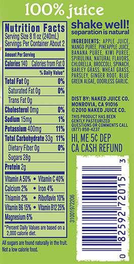 100% juice Nutrition Facts shake well! Serving Size 8 fl oz (240mL) separation is natural Servings Per Container About 2 INGR