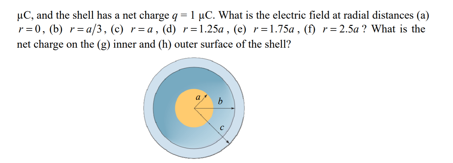 uC, and the shell has a net charge q = 1 °C. What is the electric field at radial distances (a) r=0, (b) r=a/3, (c) r=a, (d)