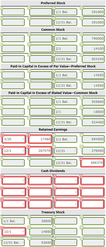 Preferred Stock 1 1/1 Bal. 1/1 Bal. U 291000 12/31 Bal. 291000 Common Stock Bal. 790000 14100 12/31 Bal. 804100 Paid-in Capit