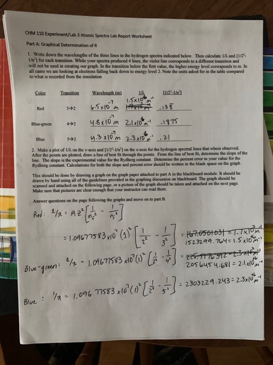 Solved CHM 25 Experiment/Lab 25 Atomic Spectra Lab Report  Chegg.com Intended For Percent Error Worksheet Answer Key