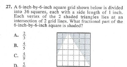 27. A 6-inch-by-6-inch square grid shown below is divided into 36 squares, each with a side length of 1 inch. Each vertex of
