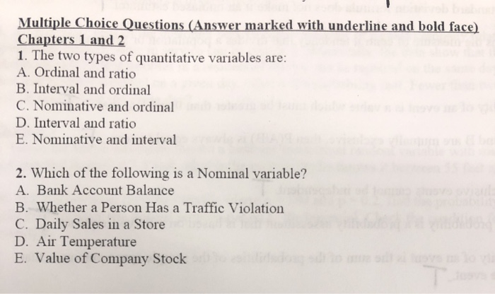 Solved: Multiple Choice Questions (Answer Marked With Unde