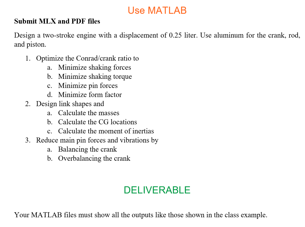 Use Matlab Submit Mlx And Pdf Files Design A Two S Chegg Com