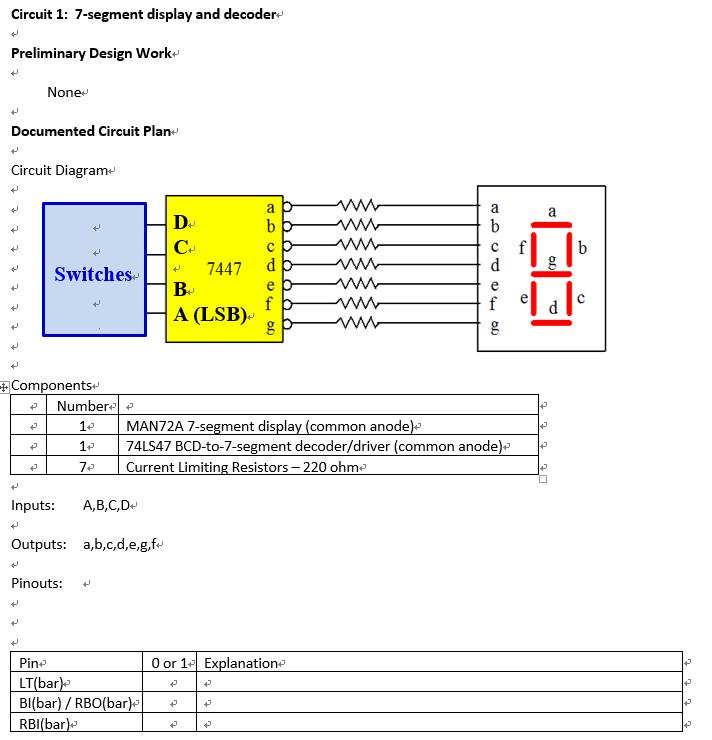 circuit diagram for 7 segment decoder solved circuit 1 7 segment display and decoder prelimina  7 segment display and decoder prelimina