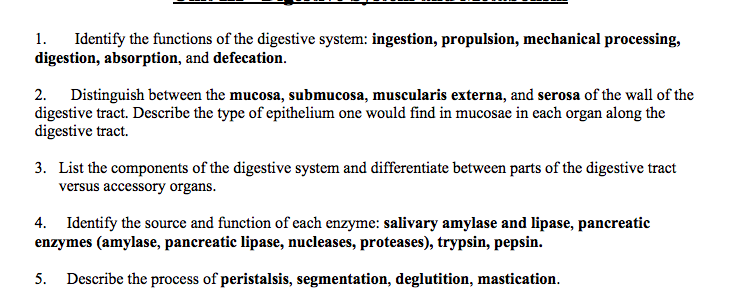 Solved 1 Identify The Functions Of The Digestive System Chegg Com